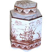Japan vintage ginger jar or tea caddy with ships