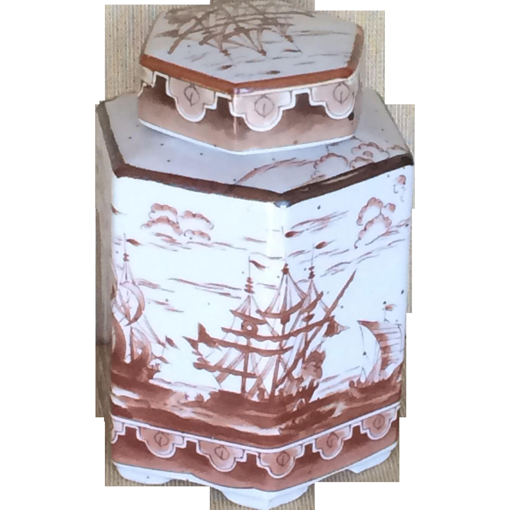 Japan vintage ginger jar or tea caddy with ships