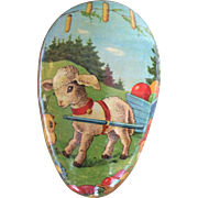 Vintage German Easter egg shaped candy container lamb chick and elf