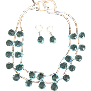 Vintage Kenneth Lane Aqua Cut Crystal Teardrop 2 Strand Necklace and Earrings