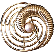 Vintage Marboux Abstract Swirl Brooch with Faux Pearl
