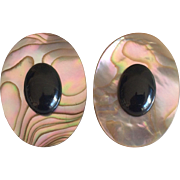Black Coral Cabochon Set on An Abalone Shell Oval Pierced Earrings