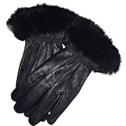 Vintage Black Rabbit Trimmed Leather Gloves