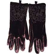 Vintage Chocolate Velveteen Embroidered Gloves