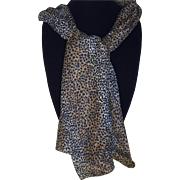 Vintage leopard Print Silk Scarf