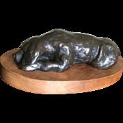 Signed Bronze Golden Retriever dog sculpture