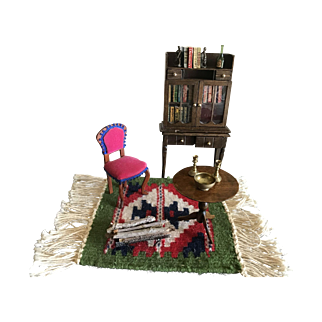 Doll House Miniature Library Furniture and Accessories