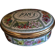 Vintage Halcyon Days enamel box 1983 made in England