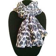 Vintage long silk black and white animal print scarf