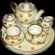 Miniature porcelain tea set made in Occupied Japan orange flowers
