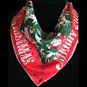 1950s silk Tammis Keefe Santa with reindeers Merry Christmas scarf - Red Tag Sale Item