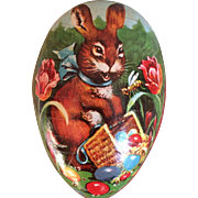 Vintage German Easter egg shaped candy container rabbit