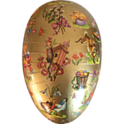 Vintage German gold Easter egg candy container