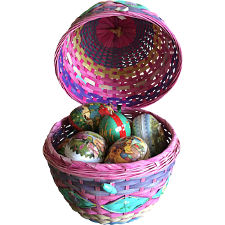 Easter basket with vintage German paper mache egg candy containers