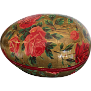 Vintage golden red rose paper mache egg box made in Germany