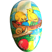 Vintage Easter Egg candy box Germany chicks and snail on sail boat