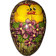 Vintage paper mache Easter egg with violets and chicks