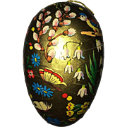 Vintage golden Easter egg made in Germany butterflies lilies of the valley