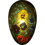 Vintage Golden paper mache Easter egg pansies and poppies