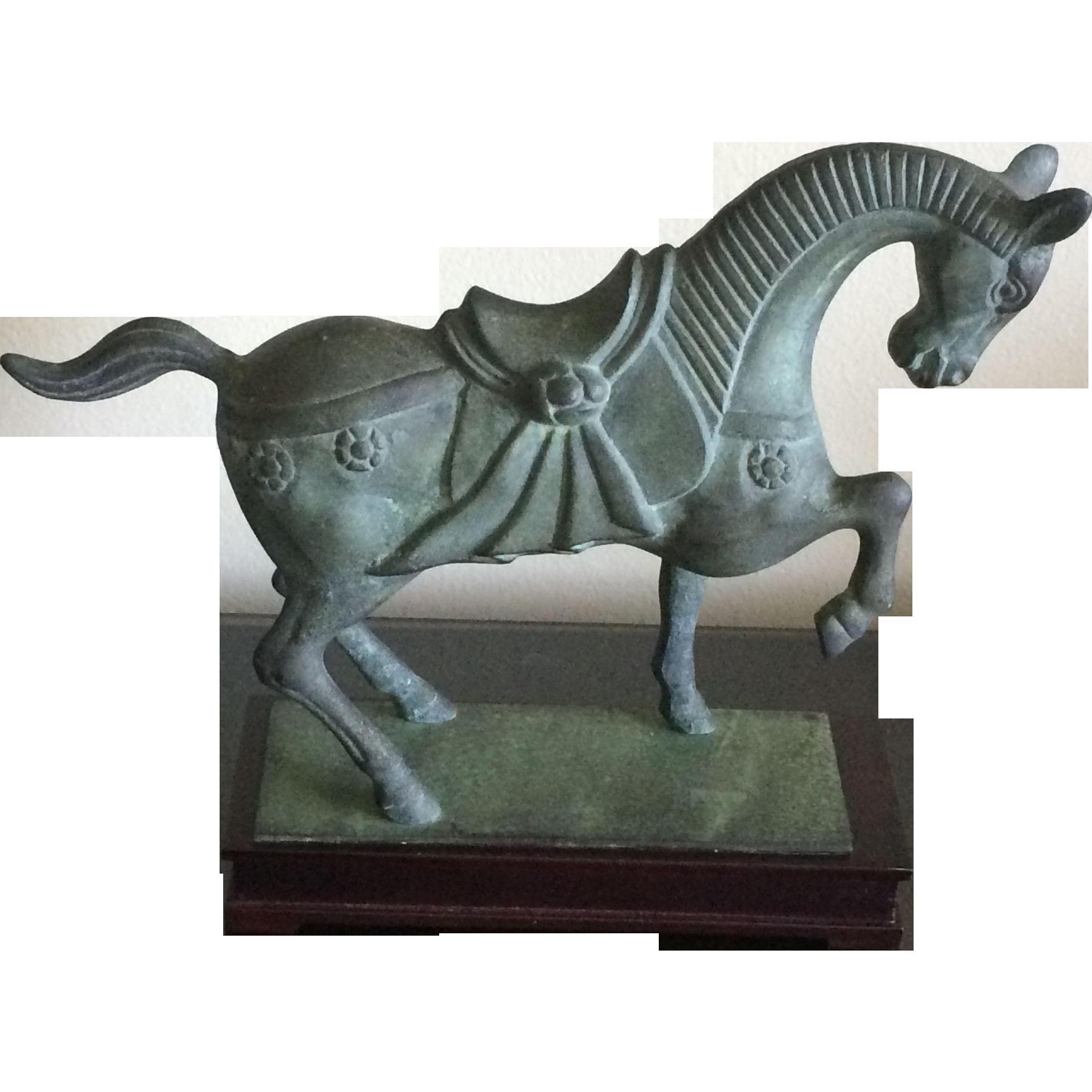 Vintage cast bronze horse sculpture