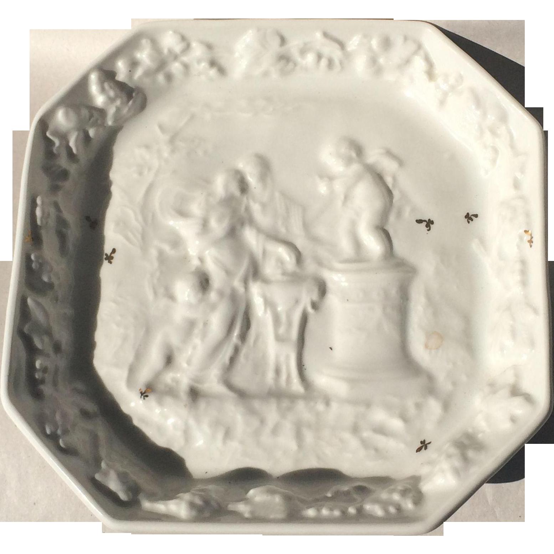 Vintage Limoges Porcelaines De Couleuvre White Bas Relief Dish