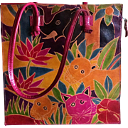 Vintage Asian Jungle Animal Motif Leather Tote Style Handbag