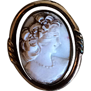 Dixelle vintage gold filled shell Cameo convertible brooch or pendent