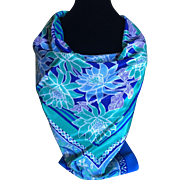 Vintage blue and green lotus blossom scarf