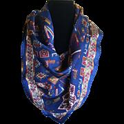 Vintage silk hieroglyphic design scarf