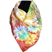Vintage bright yellow flower print silk scarf
