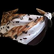 Vintage silk chiffon Ellen Tracy animal print scarf
