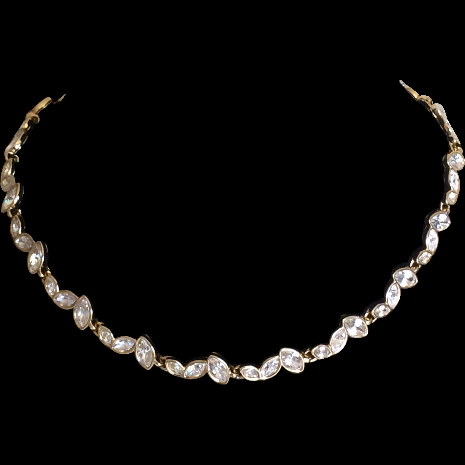 Vintage signed Swarovski crystal necklace with logo swan