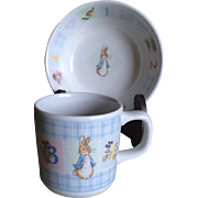 Vintage Wedgwood Peter Rabbit childs cup and bowl made in England
