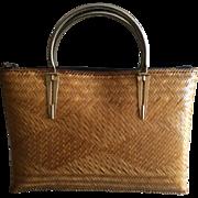 Vintage basket weave handbag with brass handles