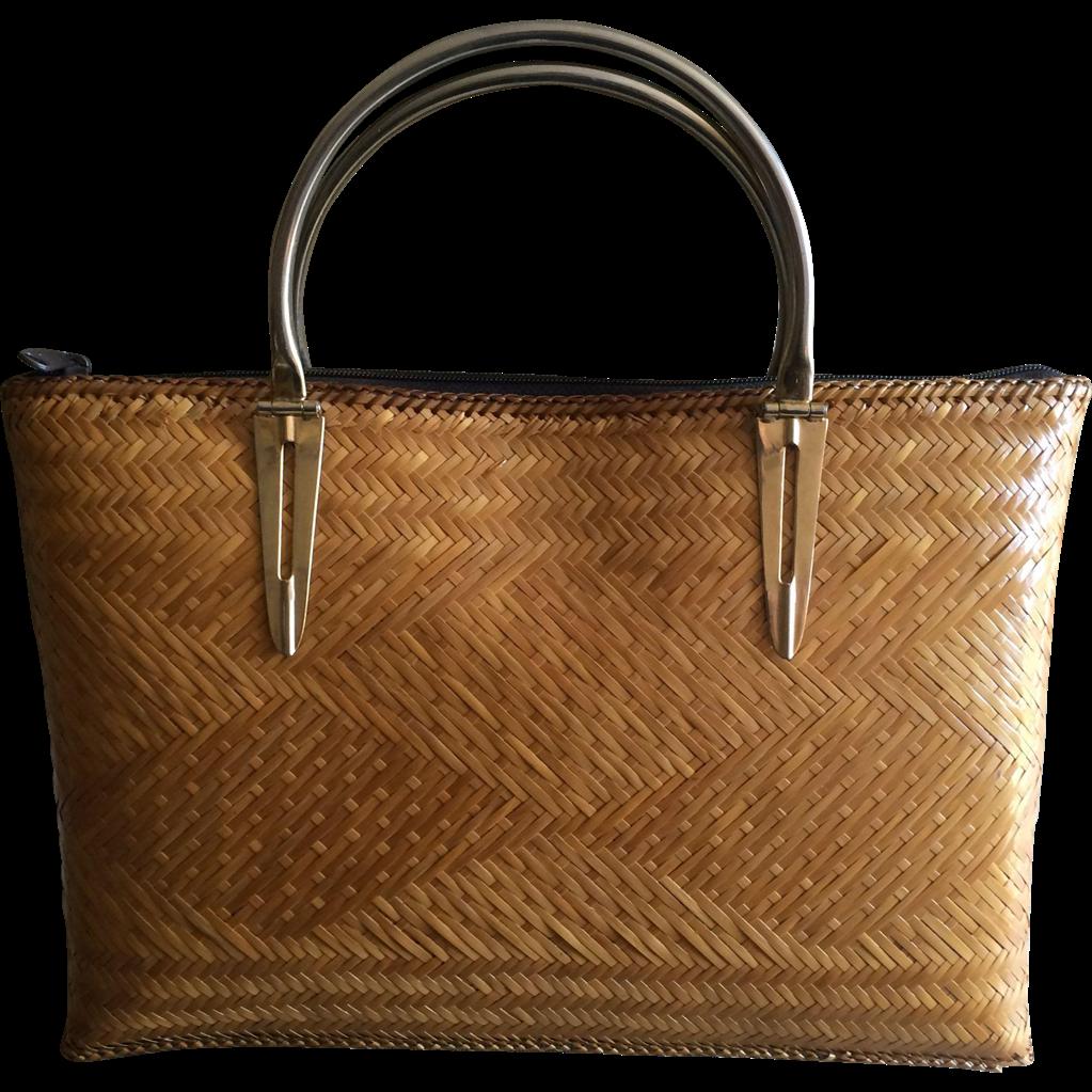 Basket Weaving Handles : Vintage basket weave handbag with brass handles from