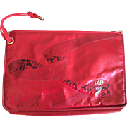 Vintage lipstick red Carlo Fioir of Italy clutch handbag