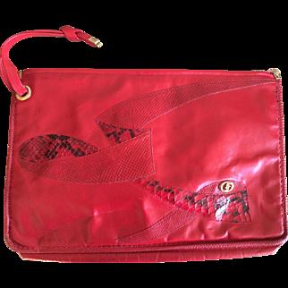 Vintage lipstick red Carlo Fioir of Italy clutch handbag