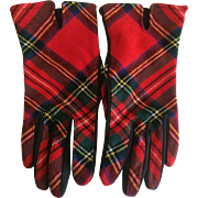 Vintage Red Tartan Plaid wool gloves - Red Tag Sale Item