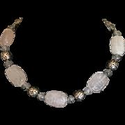 Vintage Asian theme rose quartz carved bead necklace