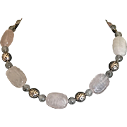 Vintage rose quartz carved bead necklace