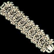 Vintage Runway Laurel Branch Silvertone Bracelet