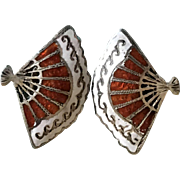 Vintage 1950s Sterling Silver and Cloisonne Fan Clip on Earrings