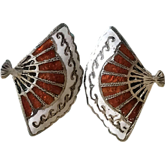 Vintage 1950s Sterling Silver and Cloisonne Fan Clip on Earrings
