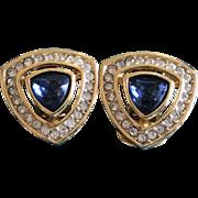 Vintage Christian Dior Blue Rhinestone Goldplate Clip On Earrings