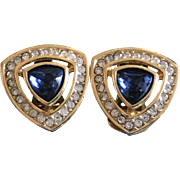 Vintage Christian Dior Blue Rhinestone Goldplate Clip On Earrings