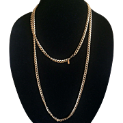Vintage Monet Flapper length goldtone chain necklace