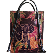 Vintage Asian leather colorful elephant tote style handbag