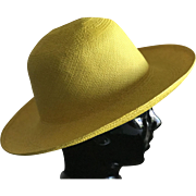 Bright yellow straw authentic floppy Panama Hat