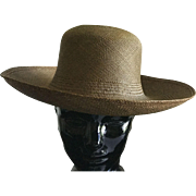 Vintage authentic bronze color straw handwoven Panama Hat