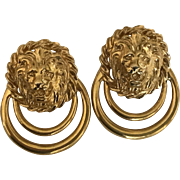 Vintage lion head pierced earrings